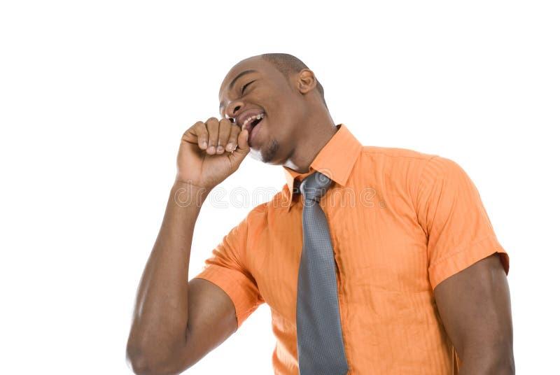 Comemoração Excited do homem de negócio do americano africano fotos de stock royalty free