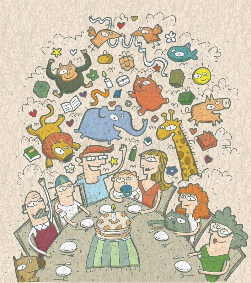 Comemorando o aniversário: ilustração tirada mão de uma família ao redor ilustração royalty free
