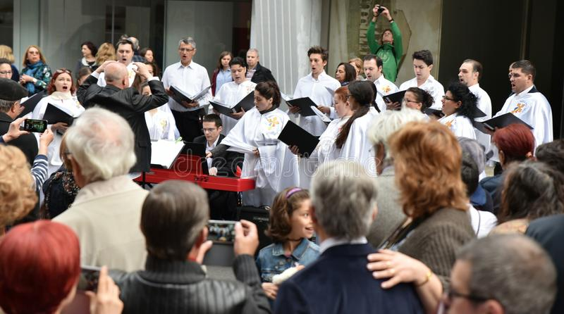Comemorando o dia da Páscoa em Bucareste fotografia de stock royalty free