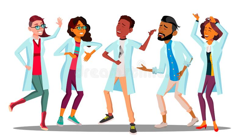 Comemorando o dia do doutor s, grupo de dança de doutores felizes Vetor Ilustração isolada dos desenhos animados ilustração do vetor