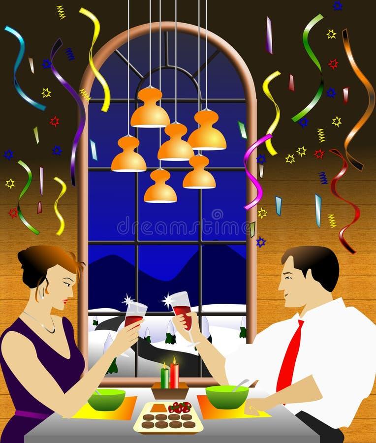 Comemorando o jantar do Natal ilustração do vetor