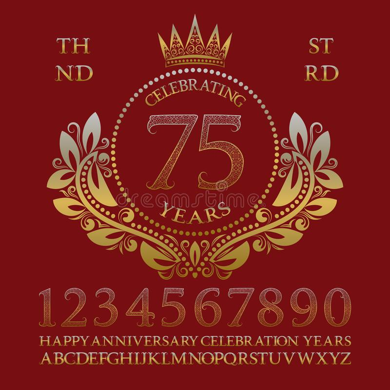 Comemorando o jogo do sinal do aniversário Números dourados, alfabeto, quadro e algumas palavras para criar emblemas da celebraçã ilustração royalty free