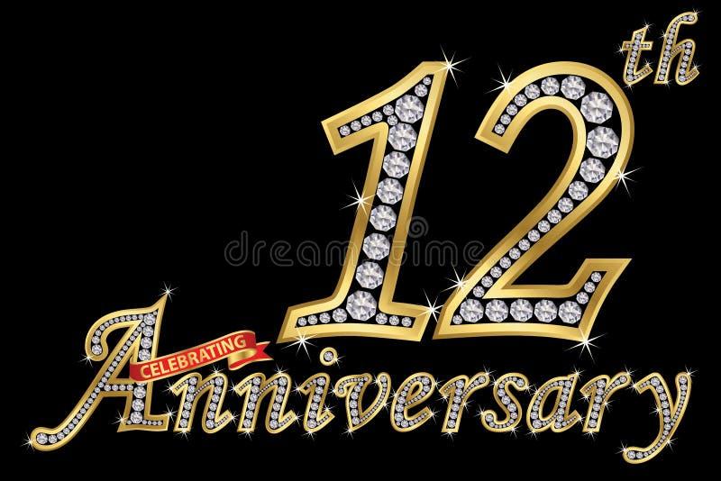 Comemorando o sinal dourado do 12o aniversário com diamantes, vetor ilustração stock