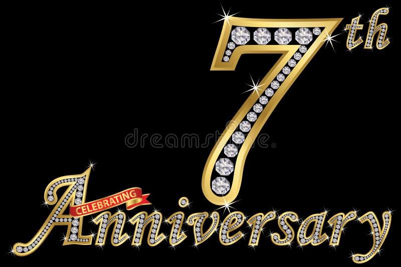 Comemorando o sinal dourado do 7o aniversário com diamantes, vetor i ilustração stock