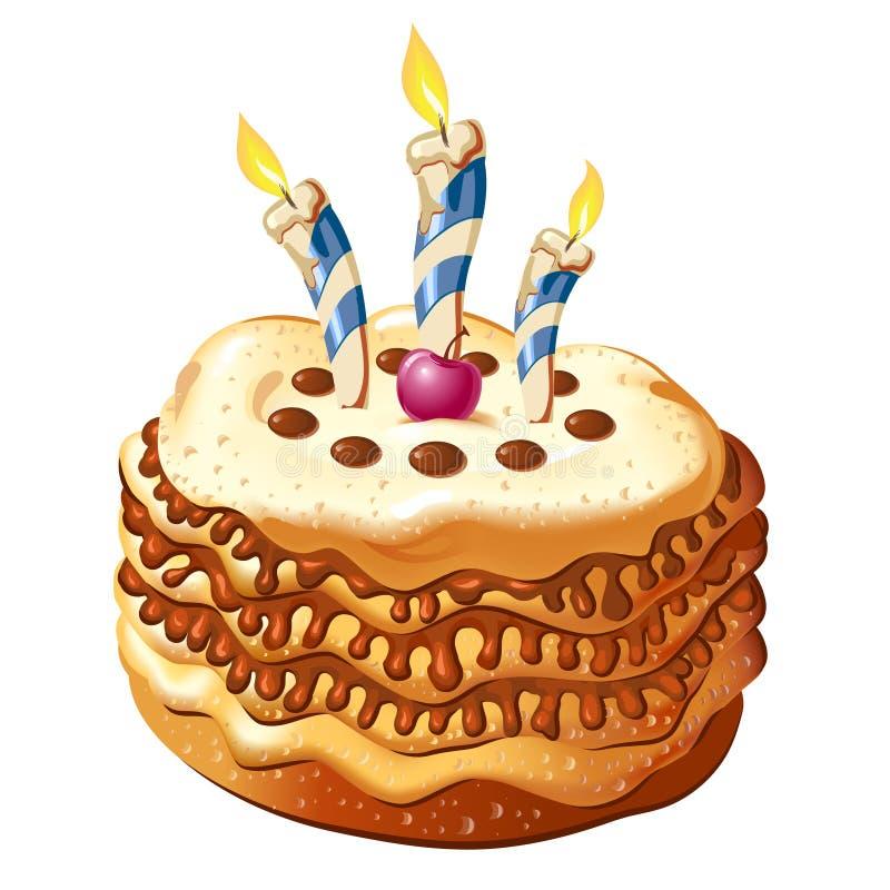 Comemore o bolo de aniversário ilustração stock
