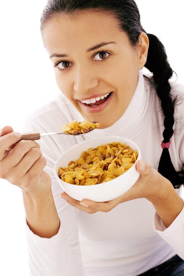 Comendo cornflakes fotografia de stock royalty free