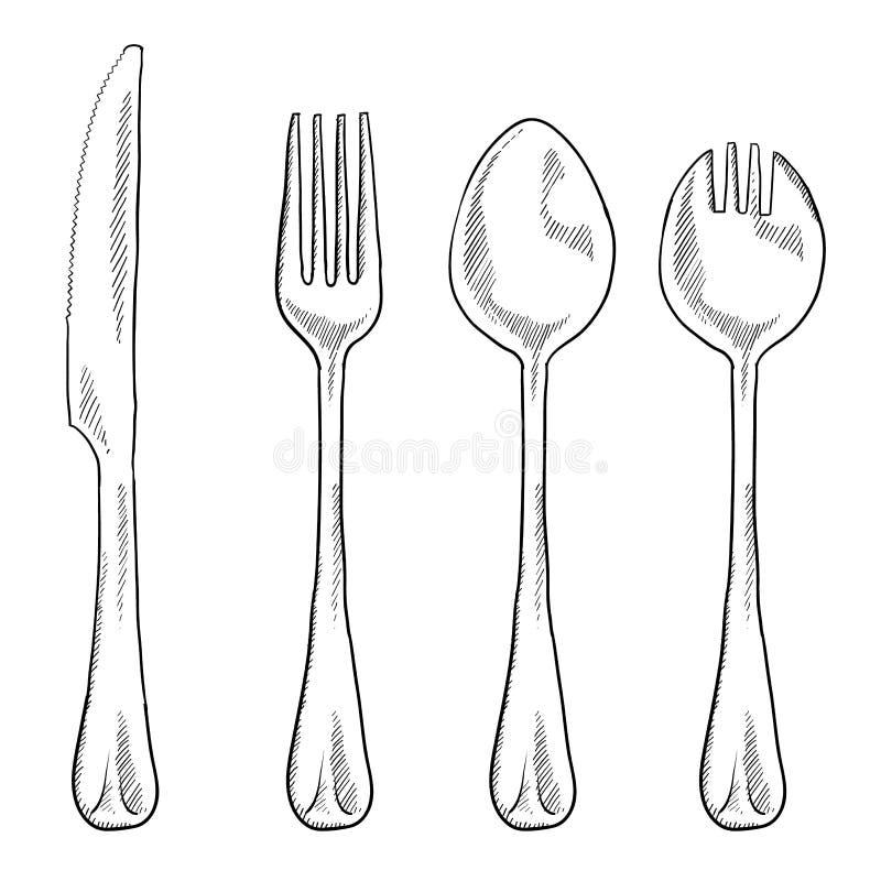 Comendo desenhar dos utensílios ilustração stock