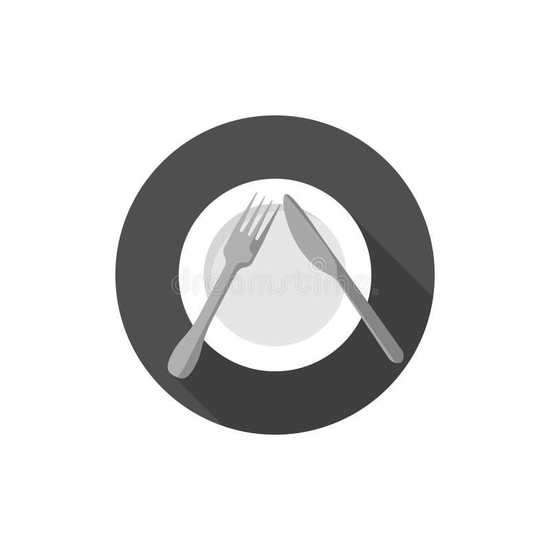 Comendo a etiqueta, as forquilhas e os sinais das facas pausa ilustração do vetor