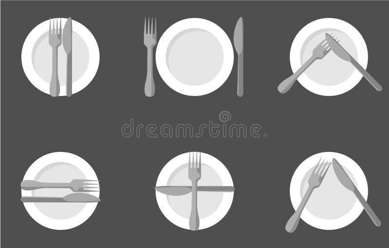Comendo a etiqueta, as forquilhas e os sinais das facas Projeto da ilustração do vetor ilustração stock