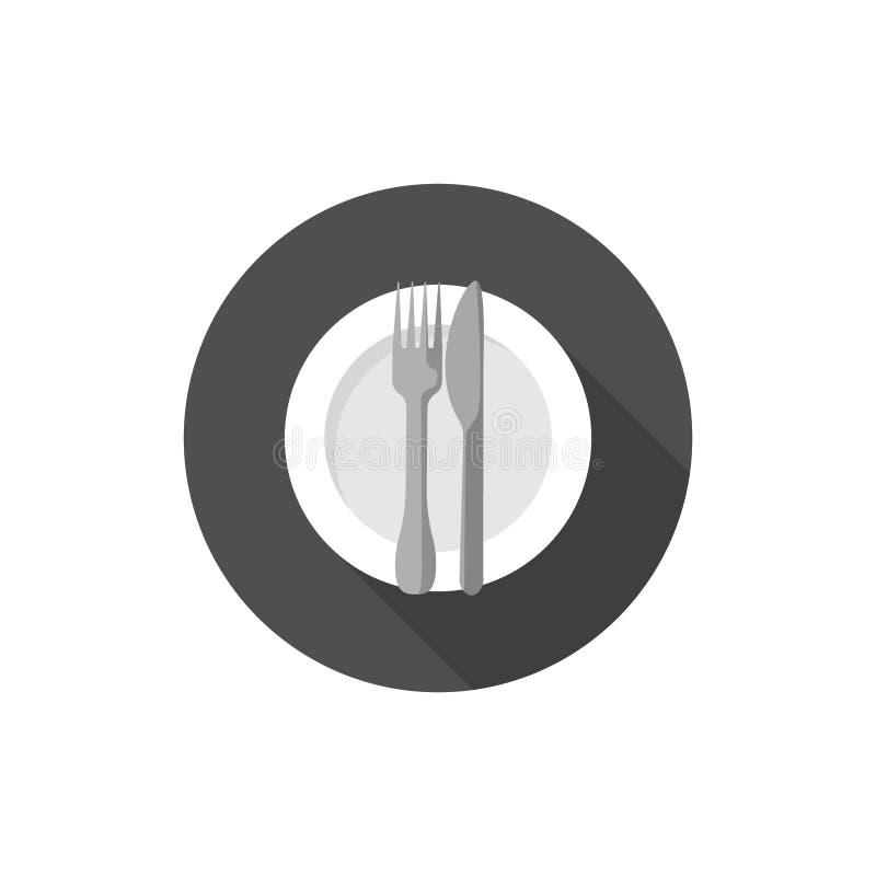 Comendo a etiqueta, as forquilhas e os sinais das facas terminado ilustração royalty free