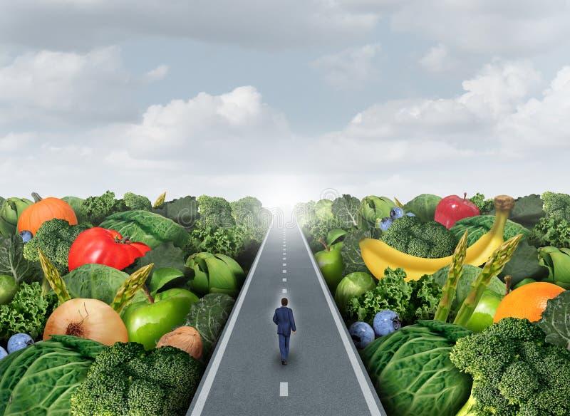 Comendo o trajeto saudável ilustração royalty free
