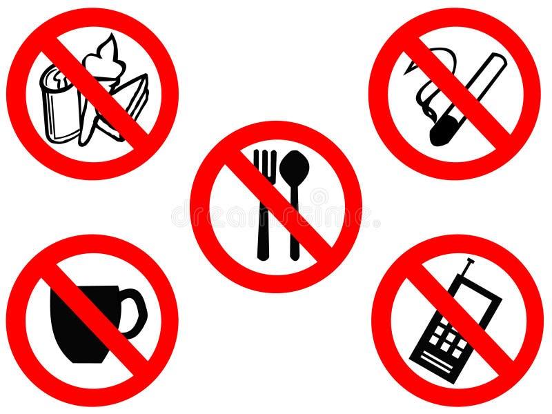 Comendo sinais proibidos de fumo ilustração do vetor