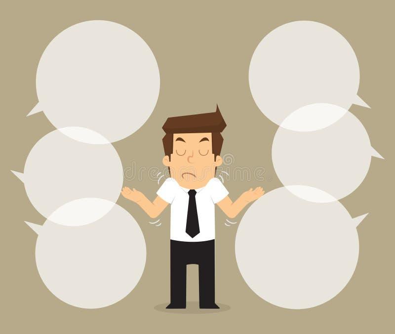 Comentário não interessado do homem de negócios ilustração do vetor