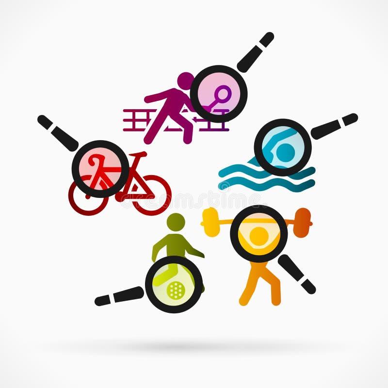 Comentario de los deportes stock de ilustración