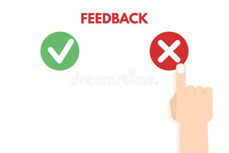 Comentario del cliente Positivo y concepto del voto negativo stock de ilustración