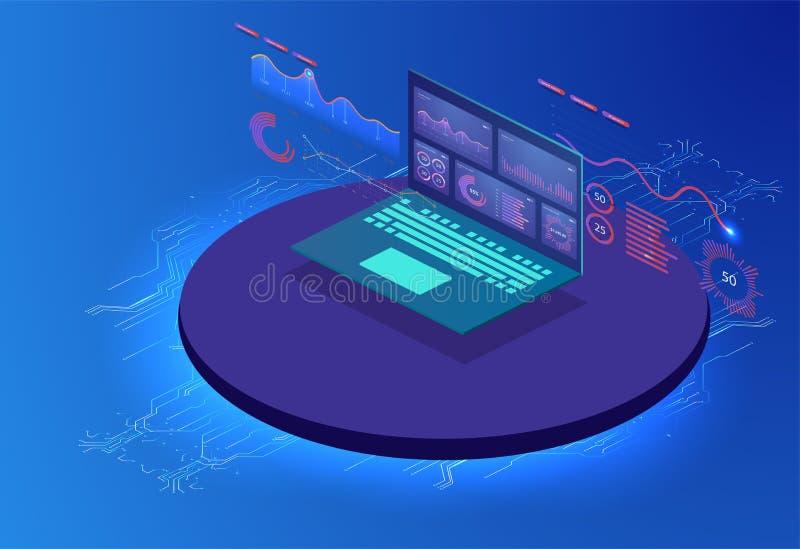 Comentario financiero con el ordenador portátil y los elementos infographic Sistema isométrico de infographics con los gráficos o libre illustration