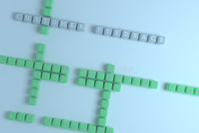 Comentarios de clientes, crucigrama de comercialización de la palabra clave Para la p?gina web, el dise?o gr?fico, la textura o e stock de ilustración