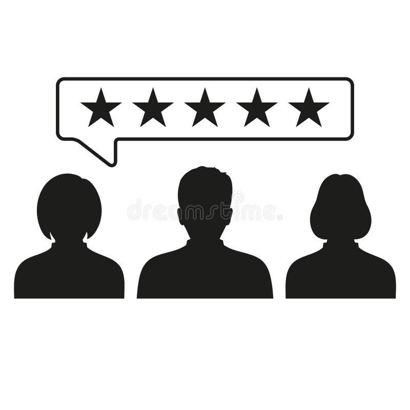 Comentarios del cliente, grado, icono de la reacción de usuario Pictograma del grado del concepto del negocio ilustración del vector