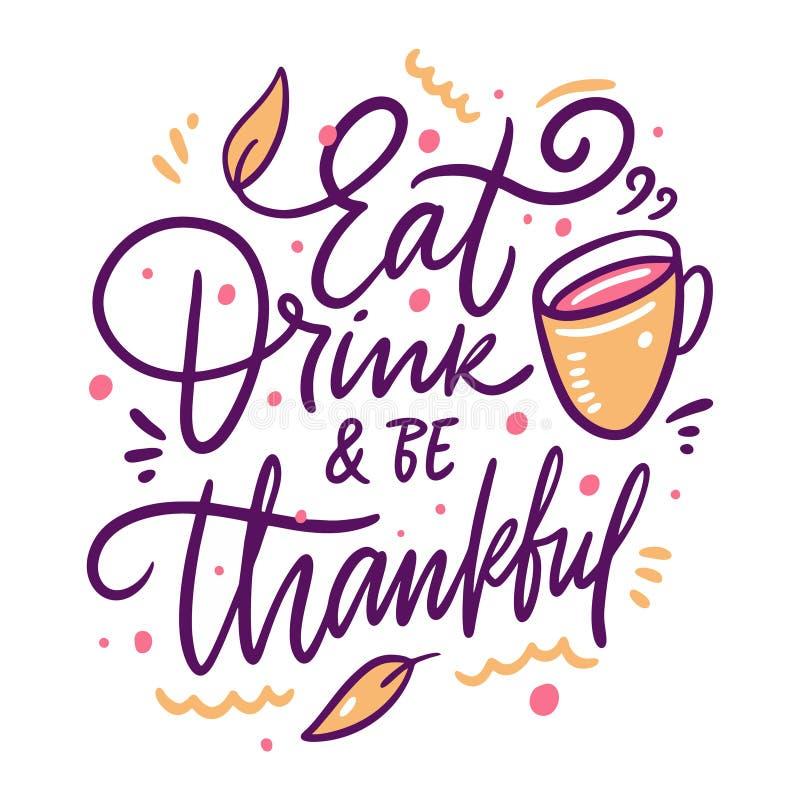 Comer bebida sea agradecido Fragmento de letras de otoño dibujado a mano Aislado sobre fondo blanco stock de ilustración