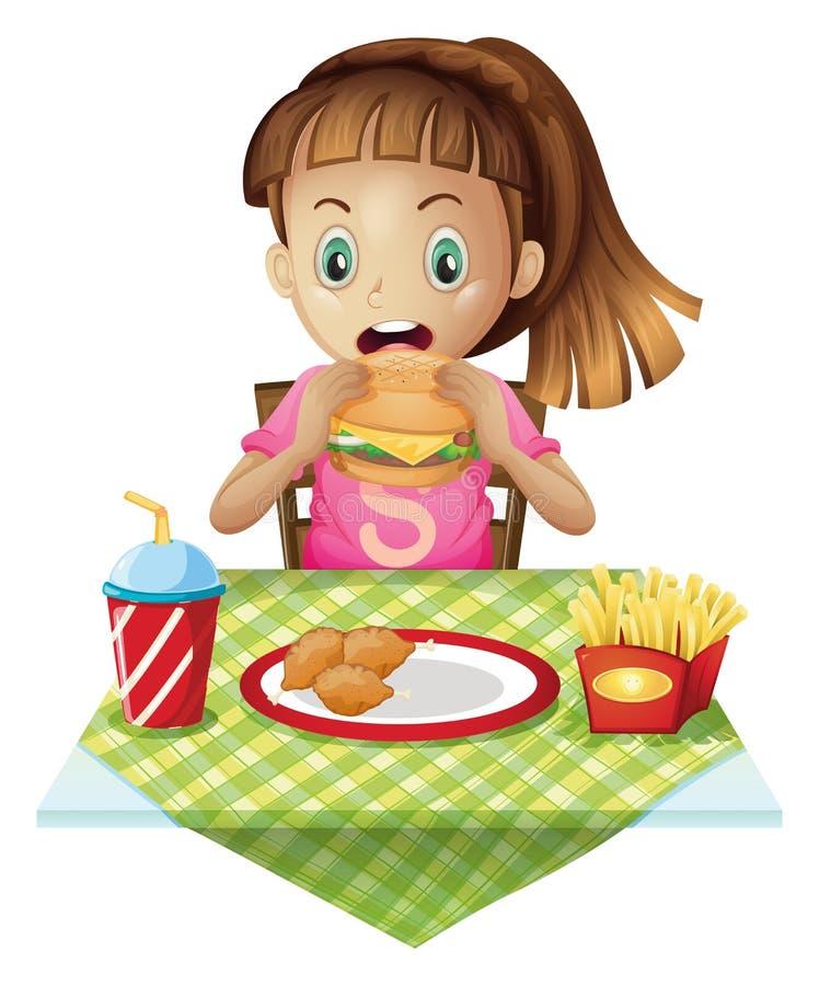 Comer com fome da criança ilustração do vetor