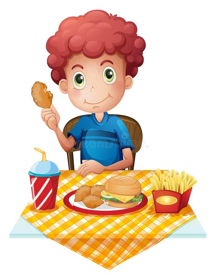 Comer com fome do menino ilustração royalty free