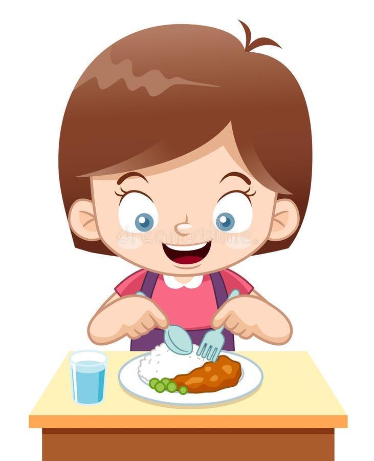 Comer da menina dos desenhos animados ilustração royalty free