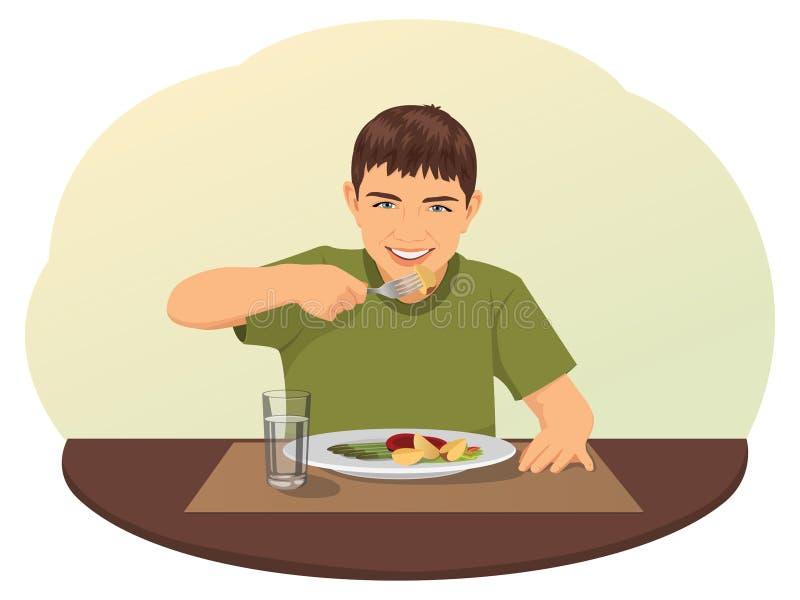 Comer do rapaz pequeno ilustração stock