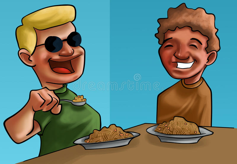 Comer dos meninos ilustração do vetor