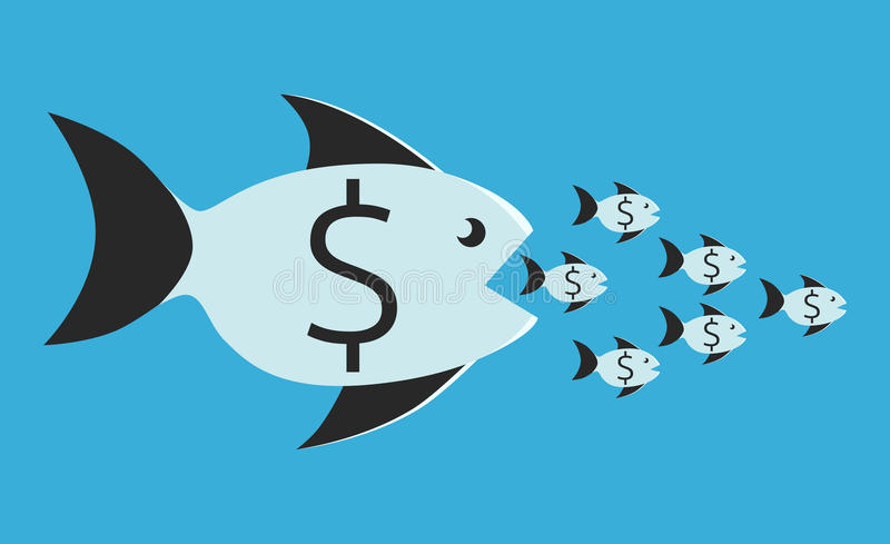 Comer dos peixes os pequenos ilustração royalty free