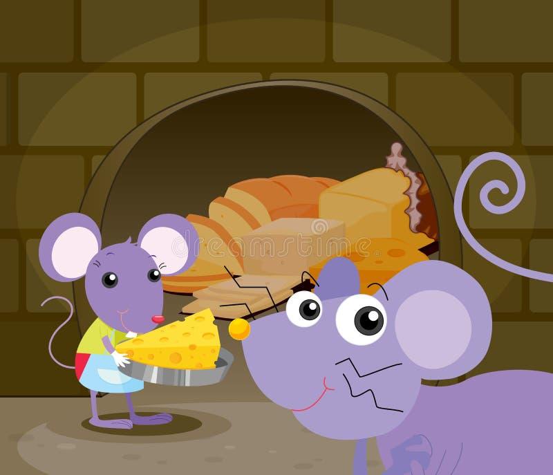 Comer dos ratos ilustração stock