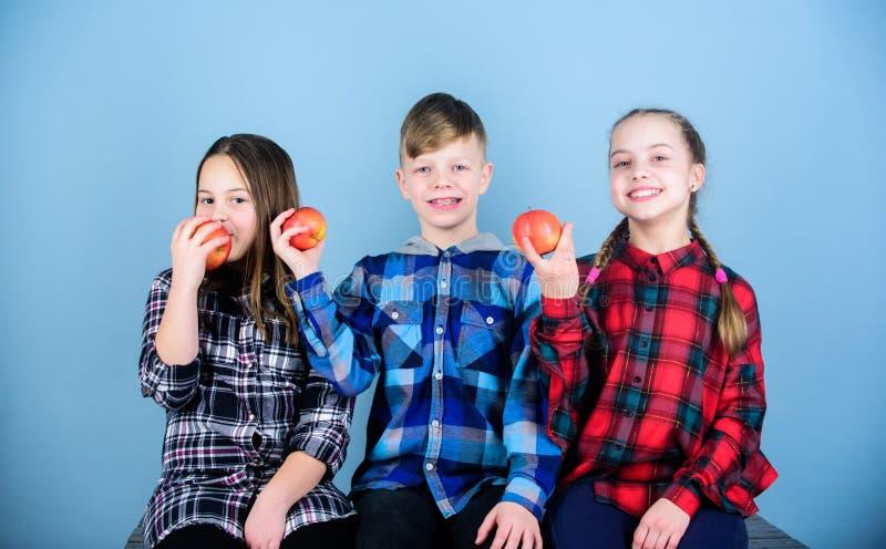 Comer el bocado sabroso Tiempo del bocado de la escuela El muchacho y los amigos de muchachas comen el bocado de la manzana Adole fotos de archivo
