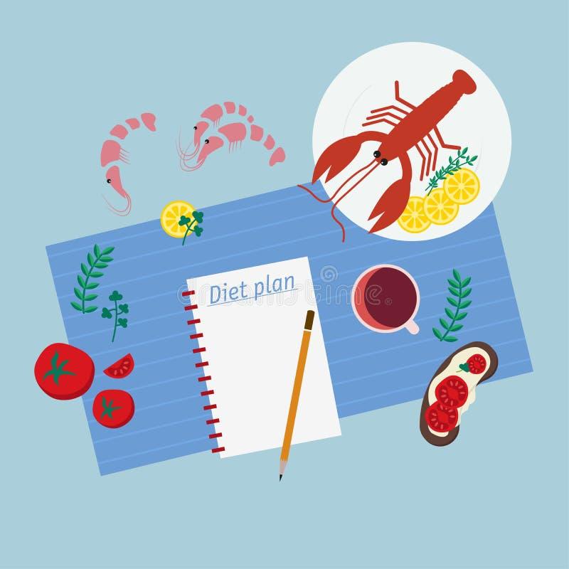 Comer, fazer dieta, emagrecimento saud?veis e pesam o conceito da perda ilustração royalty free