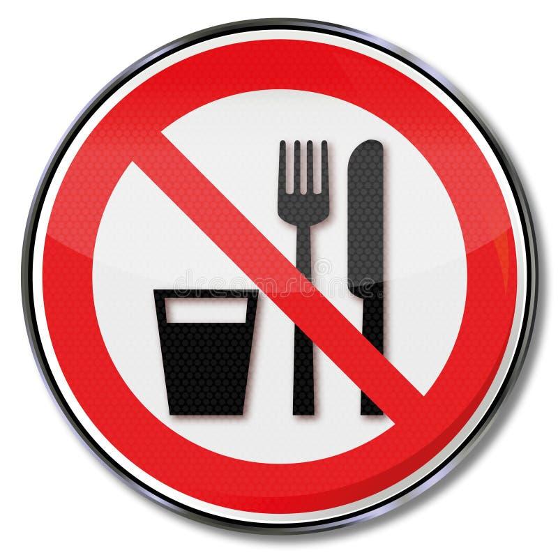 Comer ou beber não são permitidas ilustração do vetor