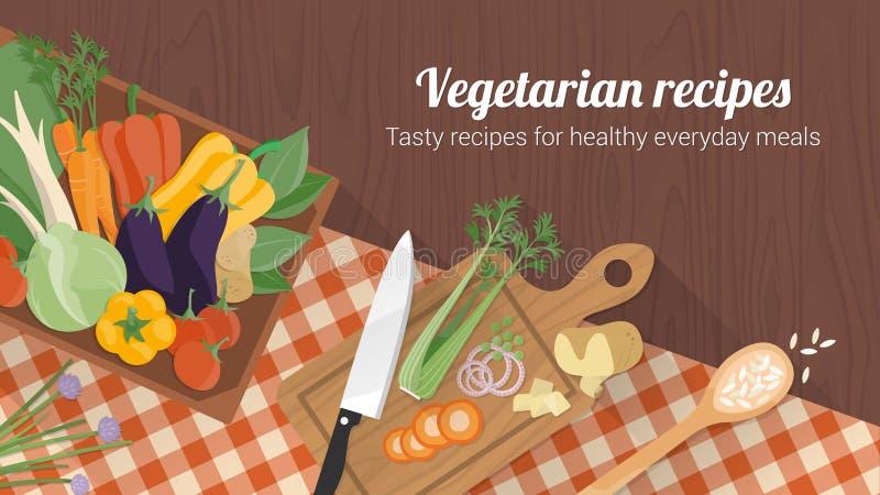 Comer saudável e receitas saborosos ilustração royalty free