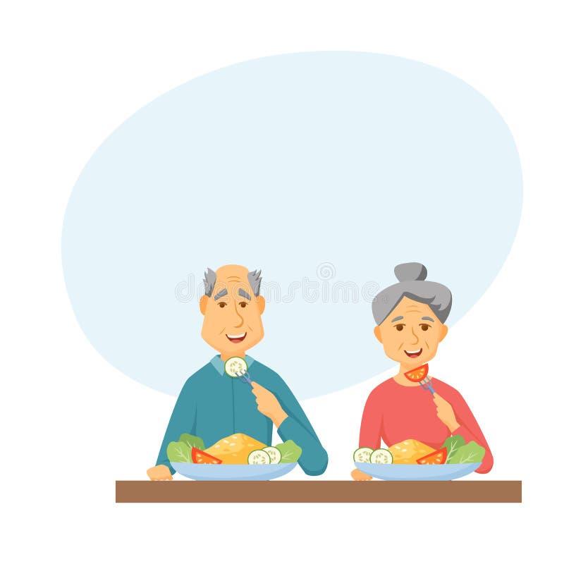 Comer velho dos pares ilustração do vetor