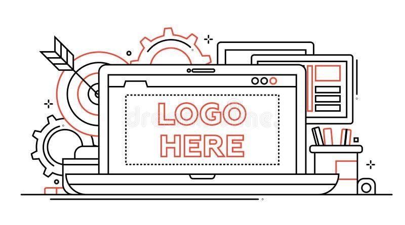 Comercialización - alinee el ejemplo del diseño con el copyspace para el logotipo ilustración del vector