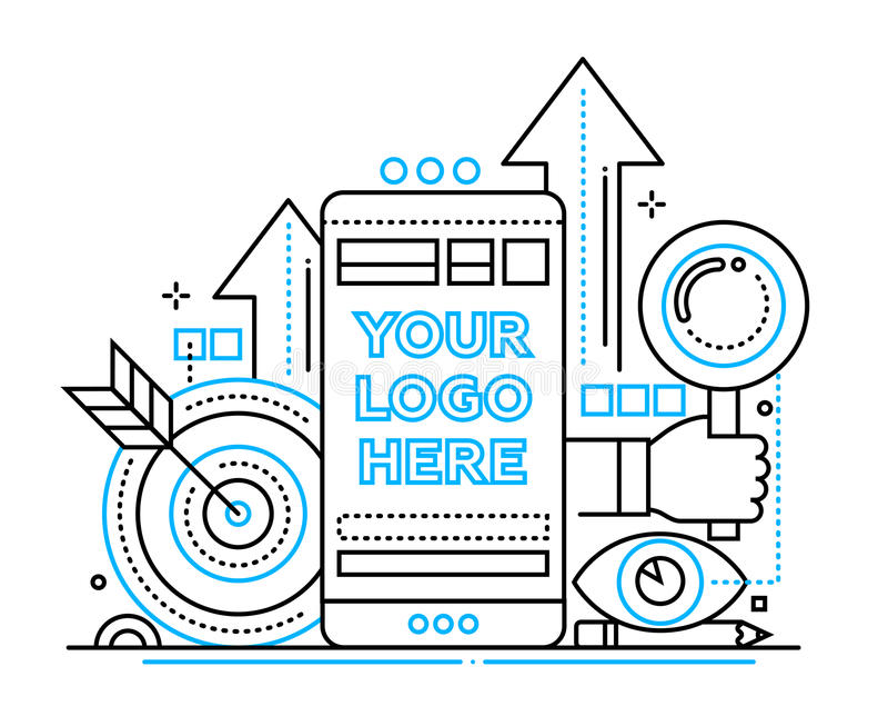 Comercialización - alinee el ejemplo del diseño con el copyspace para el logotipo libre illustration
