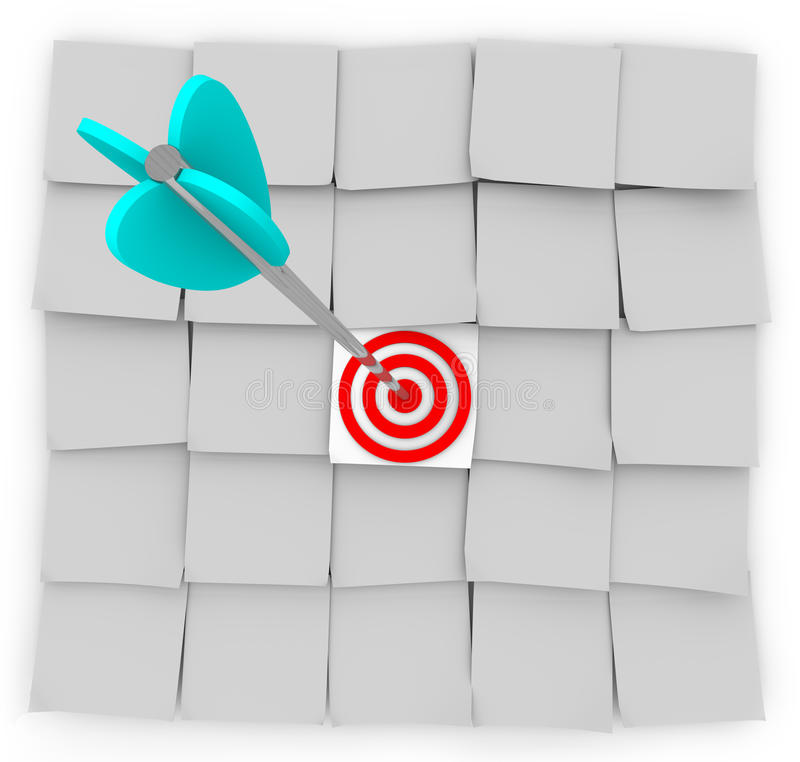 Comercialización apuntada - notas y flecha pegajosas libre illustration