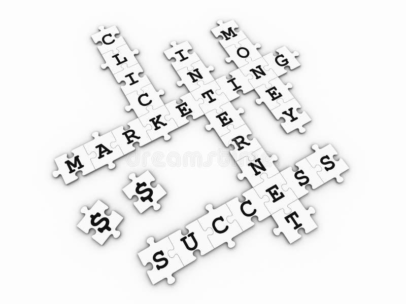 Comercialización del Internet - juego del crucigrama del rompecabezas stock de ilustración