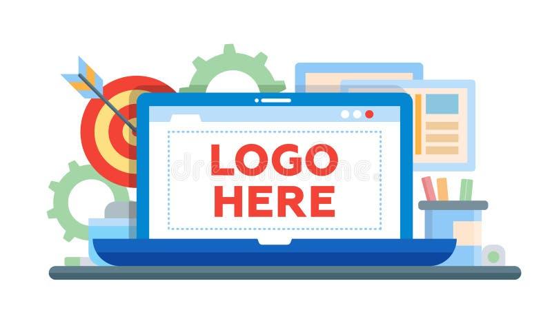 Comercialización - ejemplo plano del diseño con el copyspace para el logotipo stock de ilustración