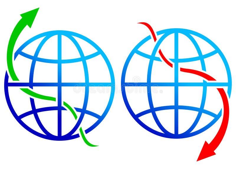Comercialización hacia arriba y hacia abajo ilustración del vector