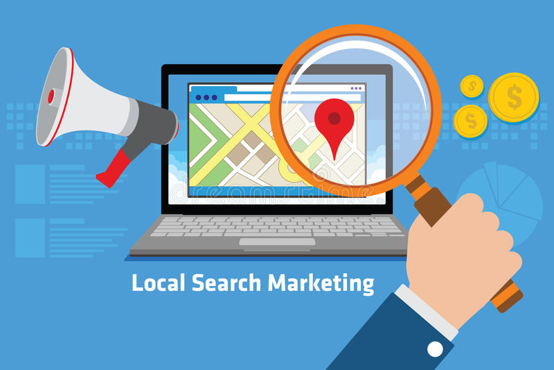 Comercialización local de la búsqueda stock de ilustración