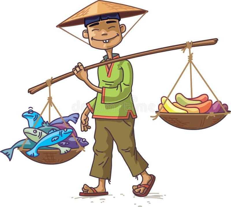 Comerciante asiático con los pescados frescos y las frutas ilustración del vector