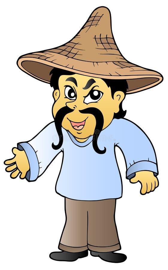 Comerciante asiático en sombrero libre illustration