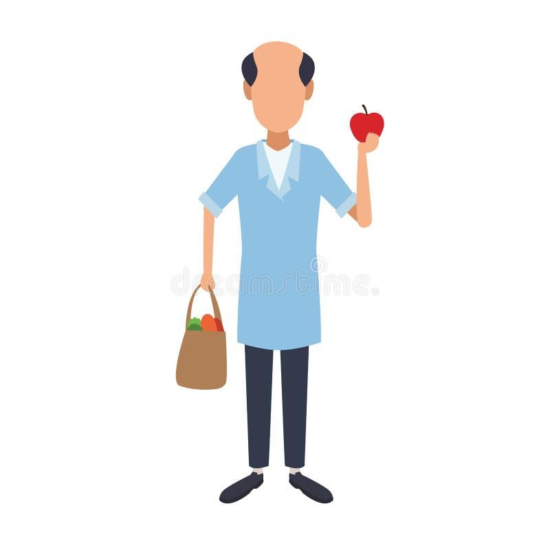Comerciante con la manzana y el bolso libre illustration