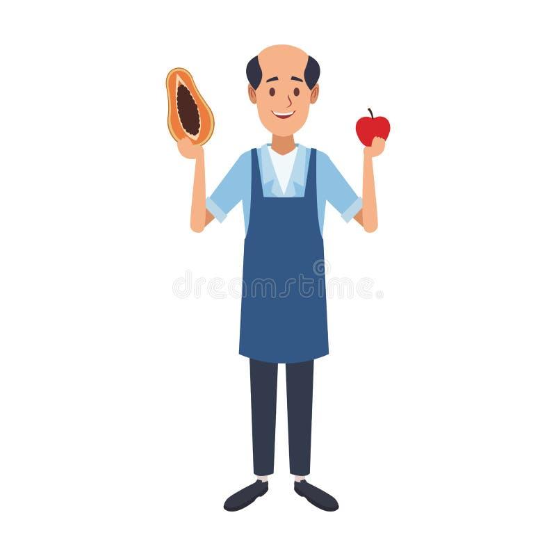 Comerciante con las frutas libre illustration