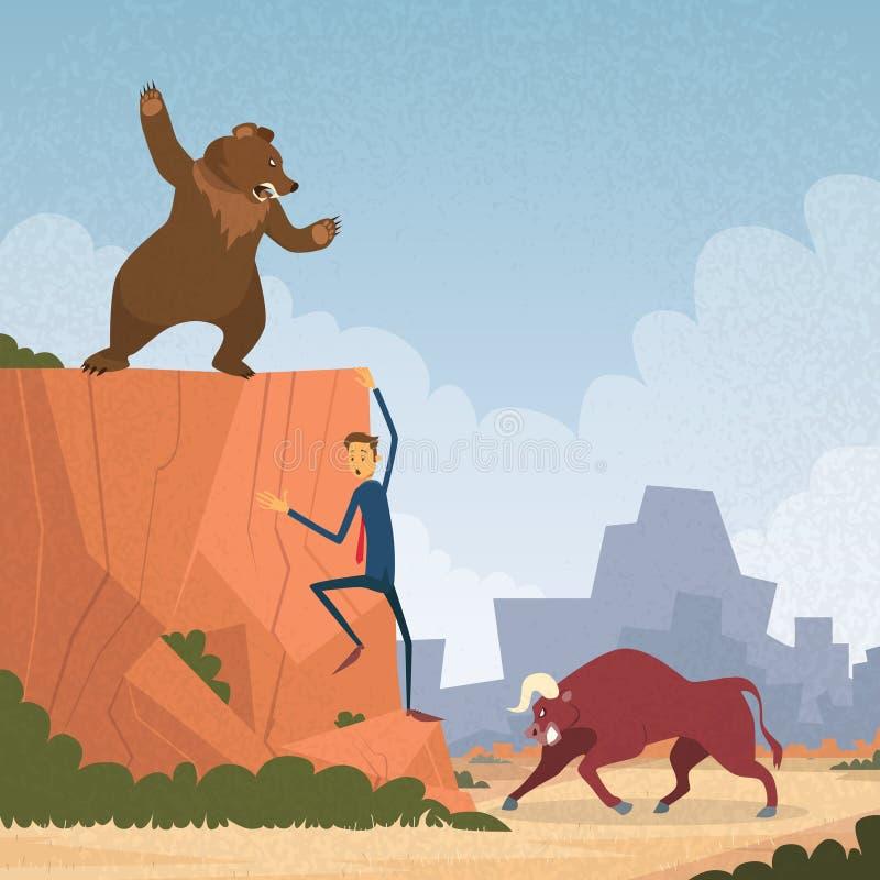 Comerciante Concept Bull do mercado de valores de ação e luta do urso ilustração royalty free