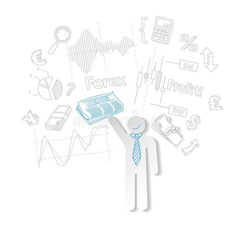 Comerciante de las divisas y compra y venta de acciones del símbolo de las noticias, vector ilustración del vector