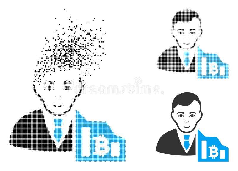 Comerciante de semitono Destructed Icon de Bitcoin del pixel con la cara stock de ilustración