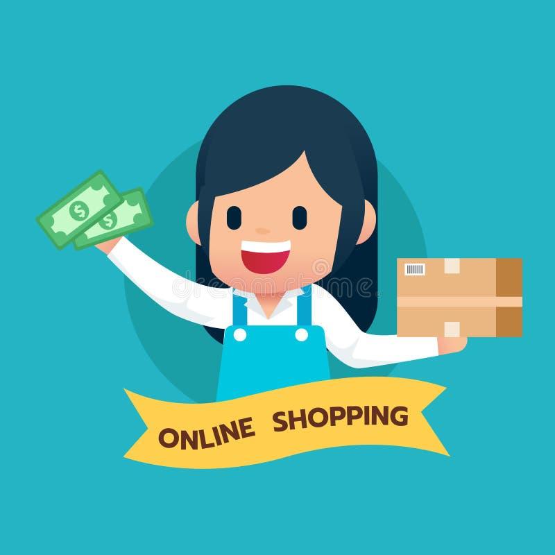 Comerciante feliz de la muchacha con las mercancías caja y el icono del dinero El hacer compras en línea y concepto del servicio  stock de ilustración